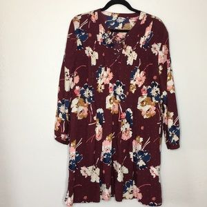 Floral boho tie up dress burgundy x large